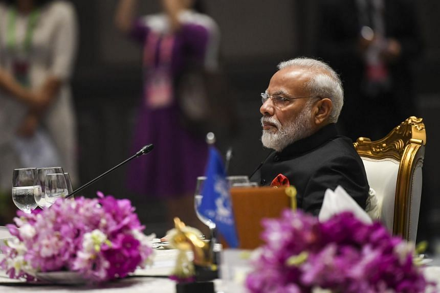 Indian Prime Minister Narendra Modi attends the Leaders lunch as part of the 35th ASEAN Summit and Related Summits on Nov 4, 2019.