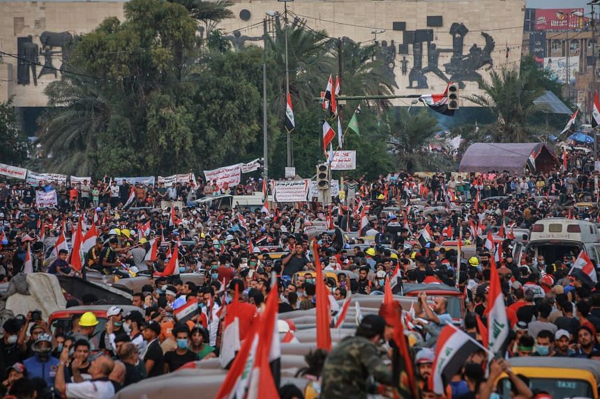 Protesters gather during an anti-government demonstration at Tahrir Square in Baghdad, Iraq on Nov 3, 2019.