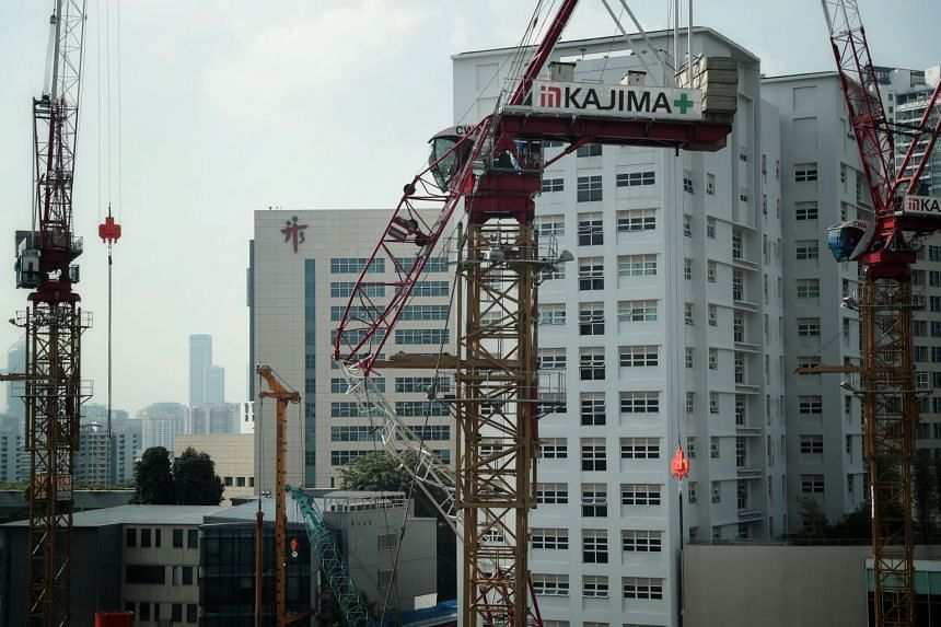A construction crane collapsed at the worksite of an upcoming rehabilitation hub in Novena (above).