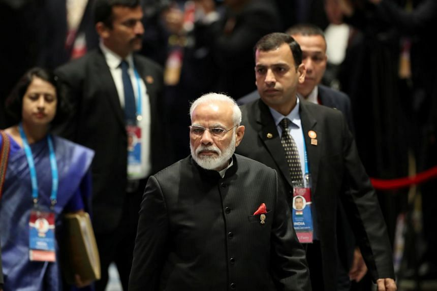 India's Prime Minister Narendra Modi arriving for a lunch meeting on the sidelines of the Asean summit in Bangkok, Thailand,  on Nov 4, 2019.