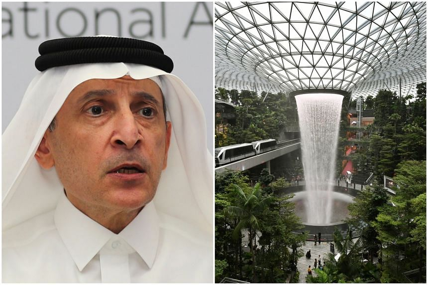 Qatar Airways chief Akbar Al Baker accused Changi Airport Group of copying Qatar's ideas in the design of Changi's Jewel (right).