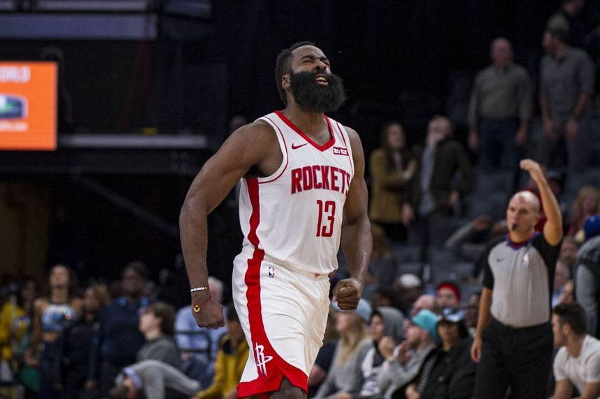 Houston Rockets guard James Harden reacts during the second half against the Memphis Grizzlies on Nov 4, 2019.