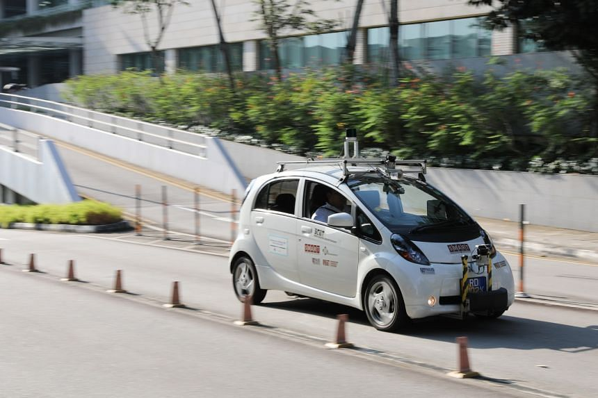 A Shared Computer-Operated Transport being tested on the road in University Town, NUS, on Oct 24, 2019. British manufacturer Dyson said on Oct 10 it is closing its automotive division, as the company's electric car is not commercially viable.