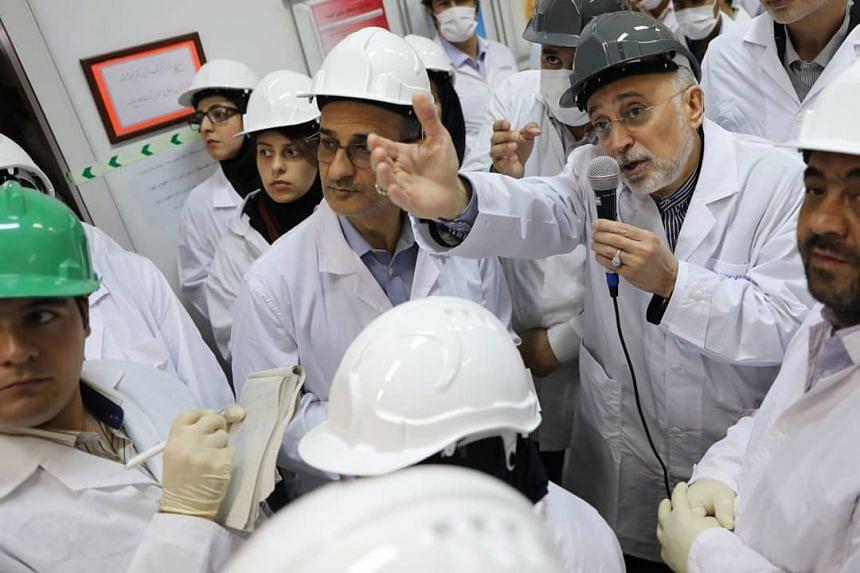 Iran Atomic Organisation chief Ali Akbar Salehi visits the Natanz nuclear power plant in central Iran.