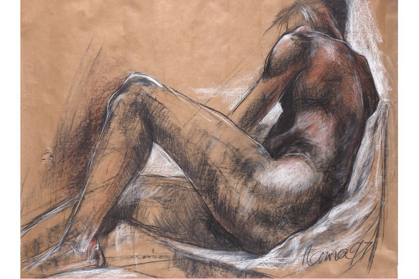 Solamalay Namasivayam: Points Of Articulation will feature more than 20 works - including Untitled, 1997. Charcoal and Pastel on Paper, 89 x 119cm (above) and Untitled. Charcoal and Pastel on Paper, 119 x 89.5cm - depicting the human figure.