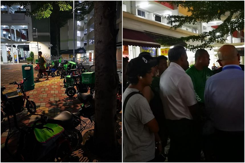 About 30 food delivery riders met Home Affairs and Law Minister K. Shanmugam at his Meet-the-People Session in Yishun on Nov 5, 2019.