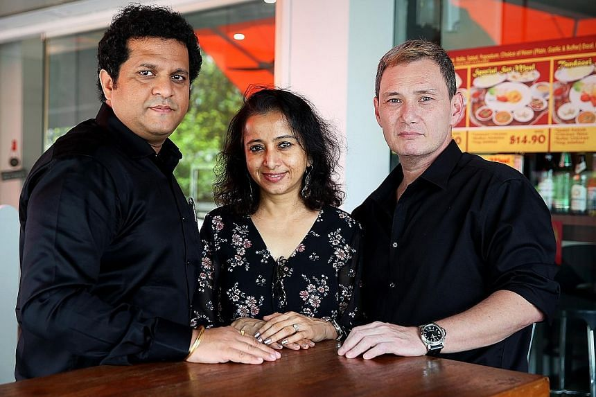 Former convict Bruce Mathieu with theatre promoter Ganesh Somwanshi (left) and Wecandoit founder Shalaka Ranadive. Just Another Chance will be staged from Nov 14 to 17. ST PHOTO: ZAIHAN MOHAMED YUSOF
