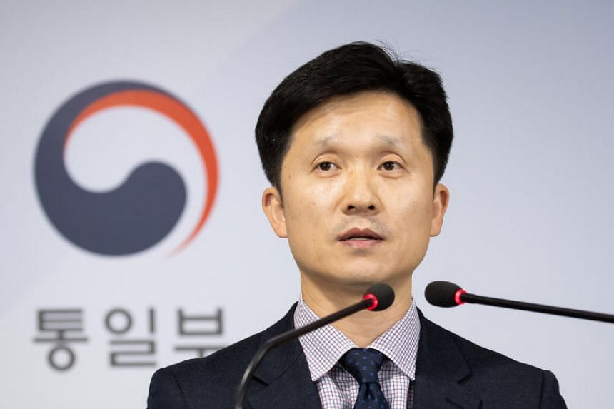 Mr Lee Sang-min, a spokesman for South Korea's unification ministry in charge of inter-Korean affairs, speaks during an emergency briefing at the government complex.