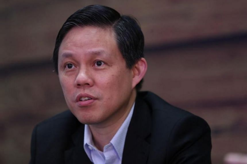 In a photo taken on Oct 17, Trade and Industry Minister Chan Chun Sing speaks during an interview.