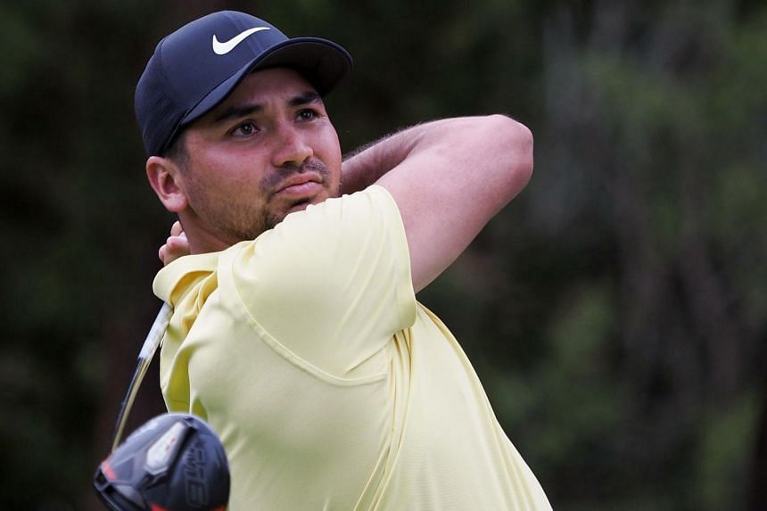 Jason Day tees off at the 14th hole during the second round of the PGA Zozo Championship golf tournament at the Narashino Country Club in Inzai, Chiba prefecture, on Oct 26, 2019.