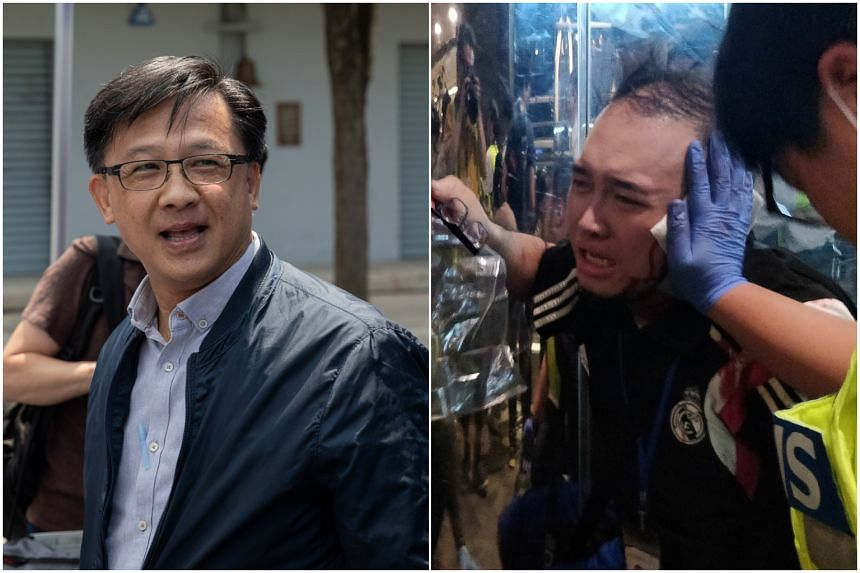 Pro-Beijing Hong Kong lawmaker Junius Ho (left) was stabbed on the street while campaigning and pro-democracy candidate Andrew Chiu had a piece of his ear bitten off in a vicious brawl.