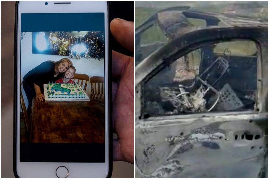 (Left) Dawna Langford, 43, and her son Trevor, 11. Nine children were with Ms Langford when the gunmen opened fire on their vehicle. (Right) The burnt wreckage of one of the three vehicles attacked with bullets and fire on Nov 4, 2019.