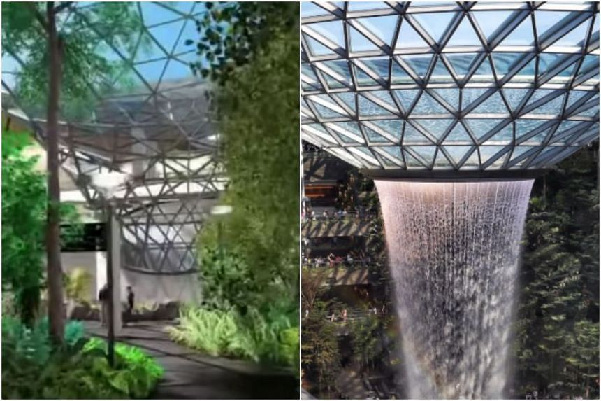 The expansion plans for Qatar's Hamad International Airport, unveiled in Doha two weeks ago, feature an indoor waterfall and massive gardens (left) that are strikingly similar to what Jewel Changi Airport offers.