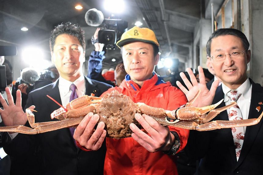 The snow crab with its 14.6cm shell and a weight of 1.24kg was caught in the Sea of Japan/East Sea off the coast of Tottori prefecture, an area of Japan known for pricey snow crabs.