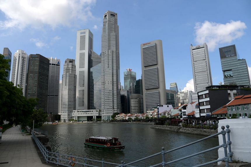 The skyline of Singapore's central business district seen in a photo taken in 2017.