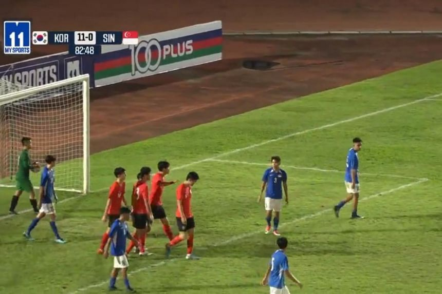A video screengrab showing Singapore's national Under-18 team (in blue) in action against South Korea.
