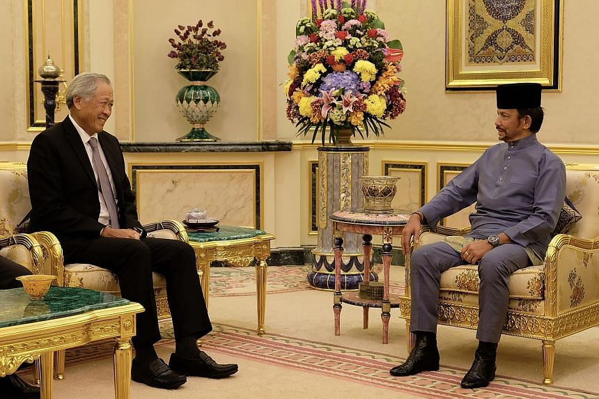 Defence Minister Ng Eng Hen met Brunei's Sultan Hassanal Bolkiah yesterday. They reiterated the importance of Brunei-Singapore ties and also welcomed the successful completion of this year's Exercise Pelican. PHOTO: MINDEF