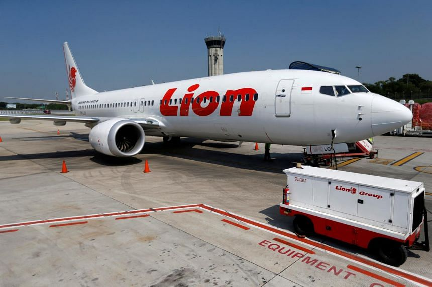A Lion Air Boeing 737 Max 8 jet on the tarmac of Soekarno Hatta International airport.