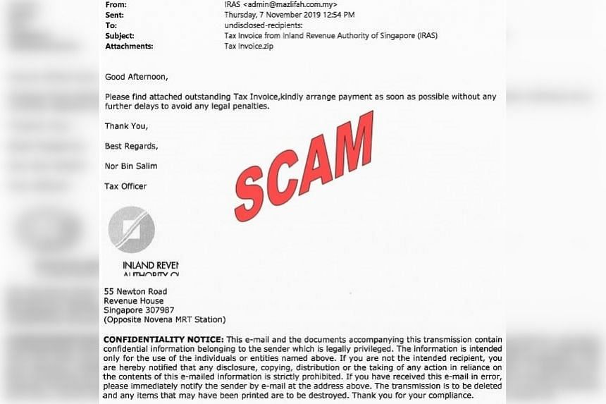 The Iras has issued an advisory to members of the public regarding a scam e-mail instructing recipients to pay an outstanding tax invoice.