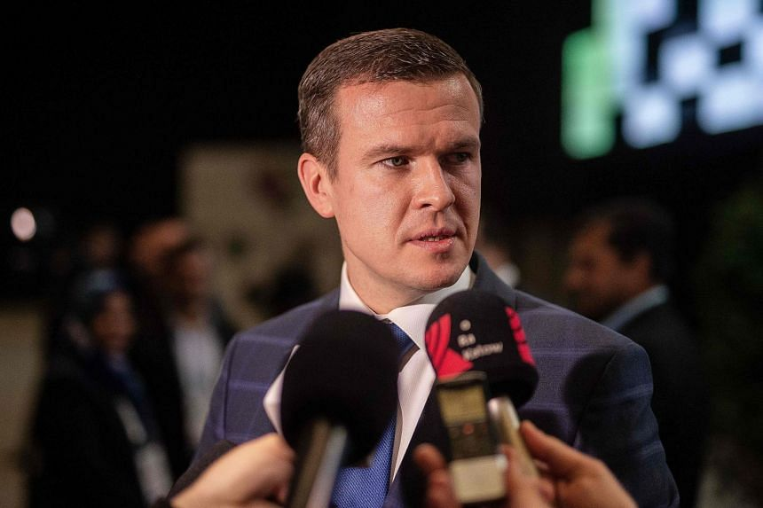 Newly elected Banka gives an interview during the Wada conference in Poland.