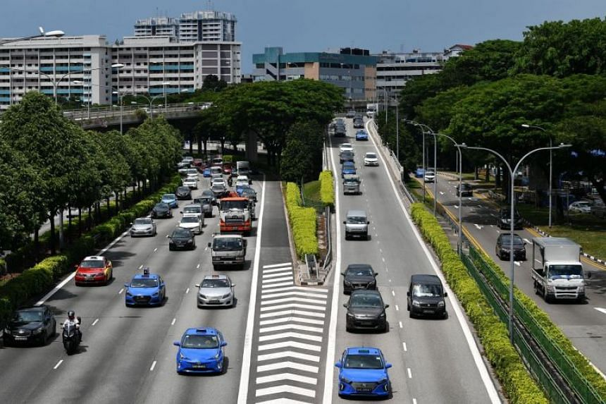 Vehicles on the PIE near 8 Kallang Sector, on May 28, 2019.