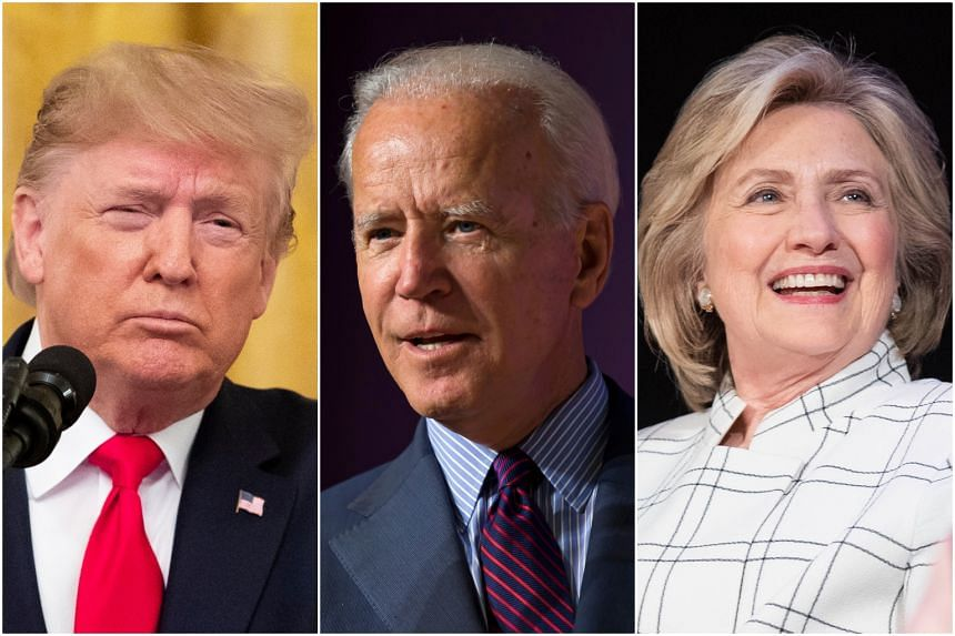 According to State Department official George Kent, US President Donald Trump (left) wanted nothing less than Ukraine President Zelenskiy to go to the microphone and link Joe Biden (centre) and Hilary Clinton (right) to the investigations.