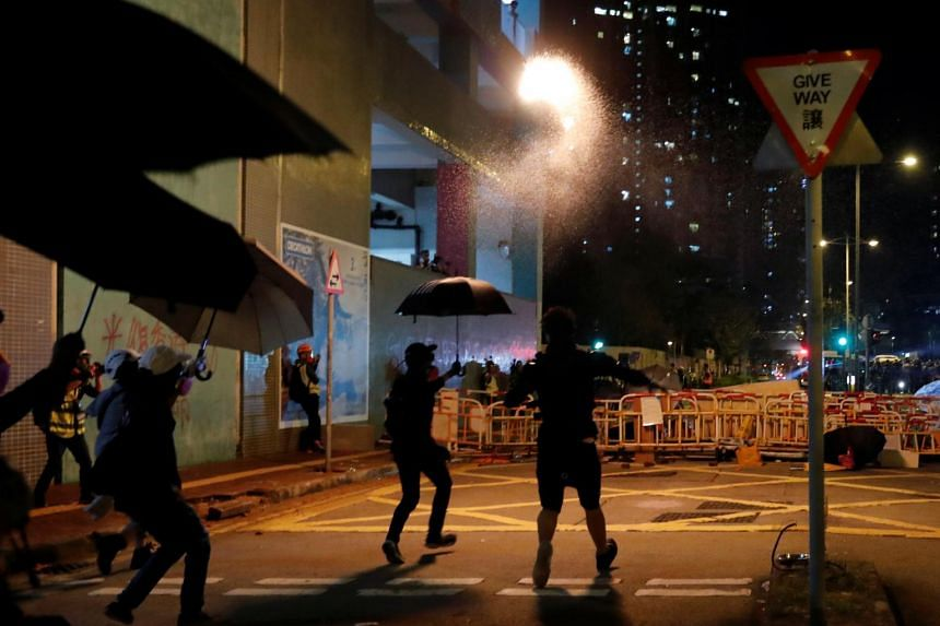 Protesters in Tseung Kwan O, Hong Kong, on Nov 6, 2019. Mr Chow Tsz Lok's death is expected to spark fresh protests and fuel anger and resentment against the police, who are already under pressure amid accusations of excessive force.