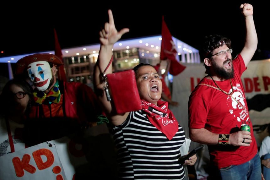 A photo of supporters of Brazil's former president Luiz Inacio Lula da Silva in Brasilia, Brazil on Nov 7, 2019. Lula's release would heighten tensions in a polarized nation.