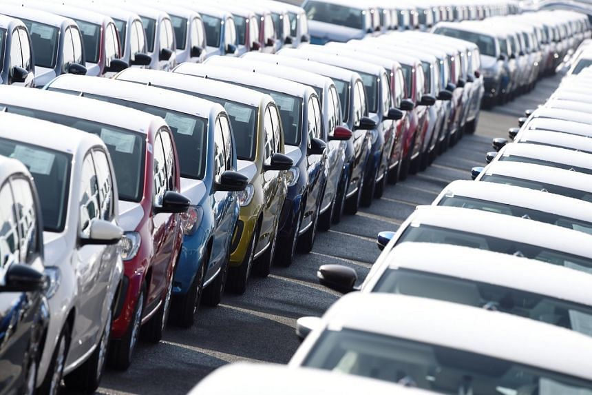 Volkswagen export cars lined up at the port of Emden, beside the VW plant, in Germany, on March 9, 2018.