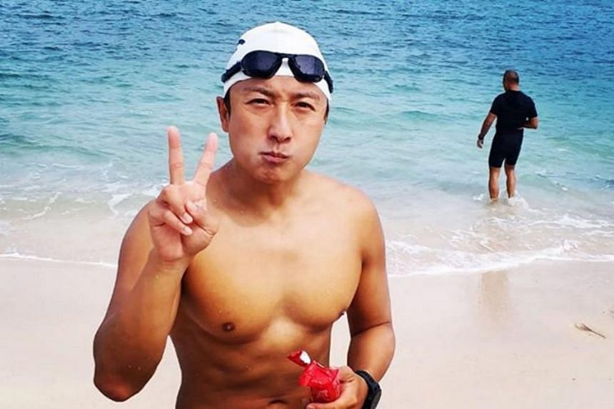 Actor-singer Alex Fong told media that he had to overcome cramps and huge waves but soldiered on, buoyed by the thought that his effort would help needy folk.