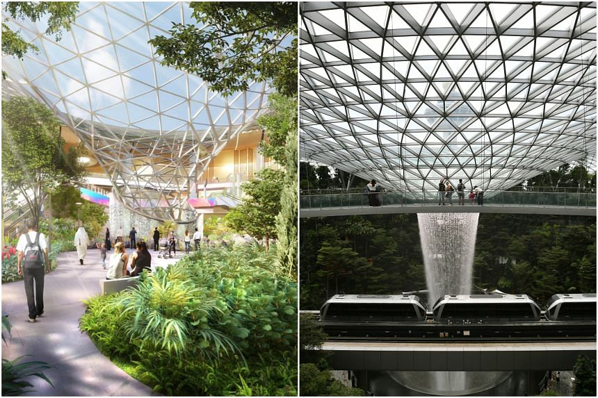 The expansion plans for Qatar's Hamad International Airport feature an indoor waterfall and massive gardens (left) that are strikingly similar to what Jewel Changi Airport offers.
