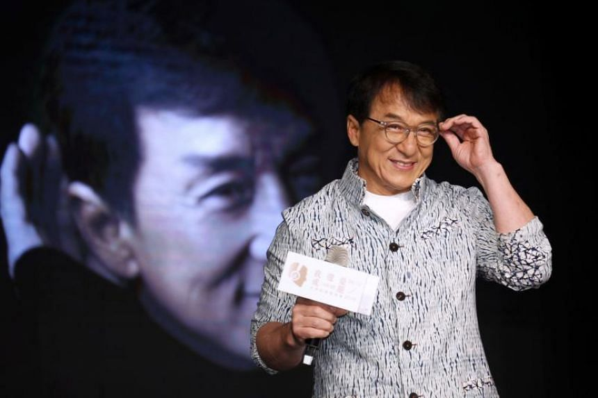 "In a file photo taken on June 12, Hong Kong actor Jackie Chan attends a press conference promoting the release of his new solo album ""I Am Me"" in Taipei."