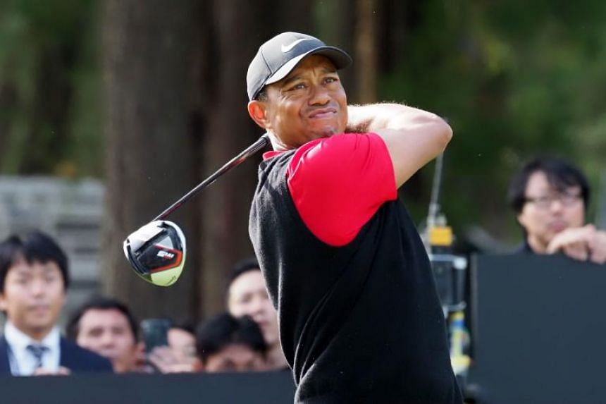 In a photo taken on Oct 28, 2019, US golfer Tiger Woods tees off at the 17th hole during the final round of the PGA ZOZO Championship golf tournament at the Narashino Country Club in Inzai, Chiba prefecture.