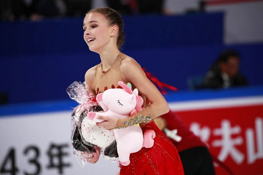 Shcherbakova reacts after performing during the Ladies Free Skating programme.