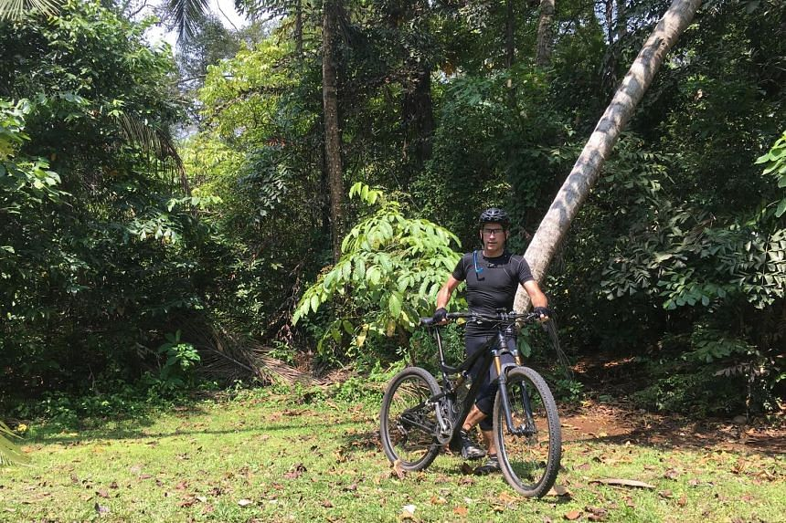 An avid mountain biker, Dr John van Wyhe (above) found this dead lined blind snake in Bukit Timah Nature Reserve on Sept 16, during one of his regular rides.