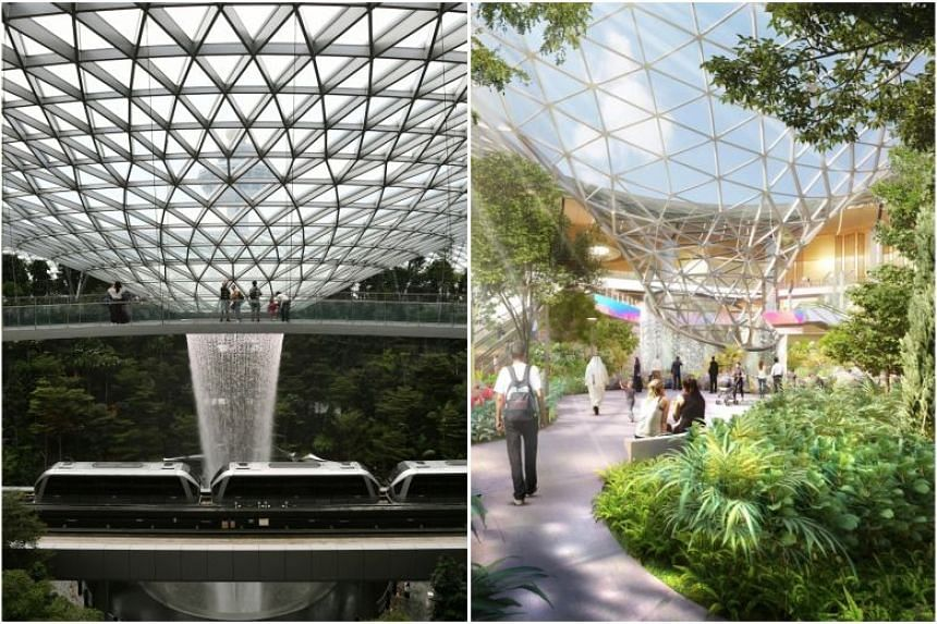 The expansion plans for Qatar's Hamad International Airport feature an indoor waterfall and massive gardens (right) that are strikingly similar to what Jewel Changi Airport offers.