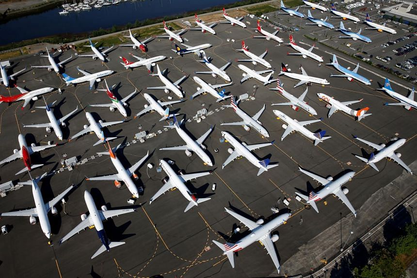 Dozens of grounded Boeing 737 MAX aircraft are parked at Boeing Field in Seattle, Washington, on July 1, 2019.