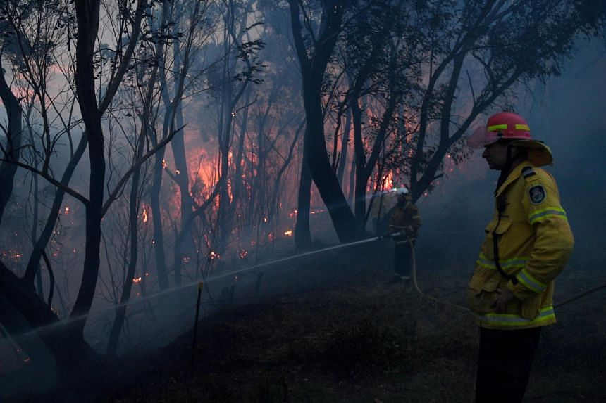Fire and Rescue NSW firefighters conduct property protection as a bushfire burns close to homes on Railway Parade in Woodford, New South Wales, Australia, on Nov 8, 2019.