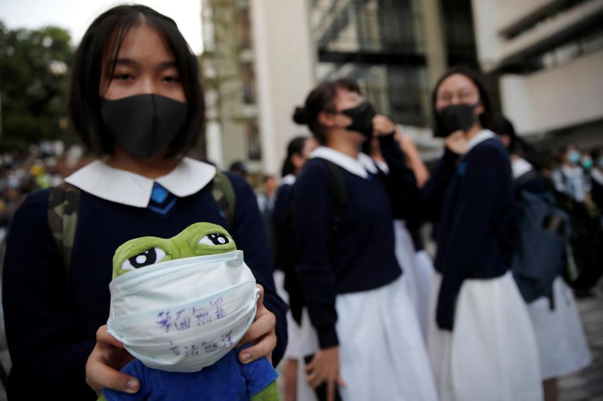 Students gather during an anti-government protest in Hong Kong on Oct 18, 2019.