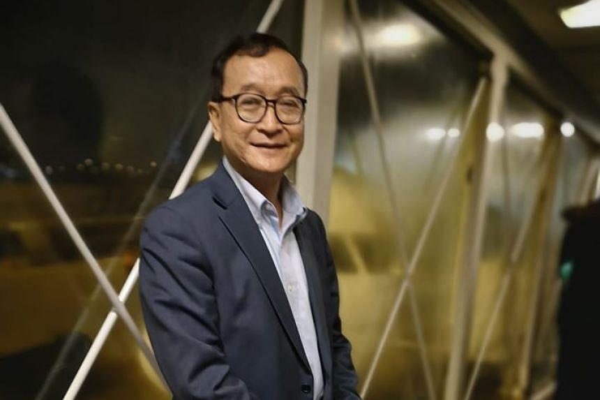 Sam Rainsy was blocked from boarding a Thai Airways flight from Paris to Thailand, on Nov 7, 2019.