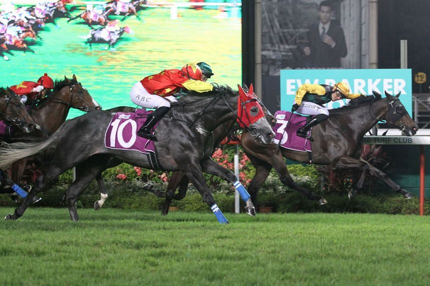 Fame Star holding on resolutely to stave off Grand Koonta (No. 10) in the $400,000 Group 2 EW Barker Trophy over 1,400m in Race 8 at Kranji last night.