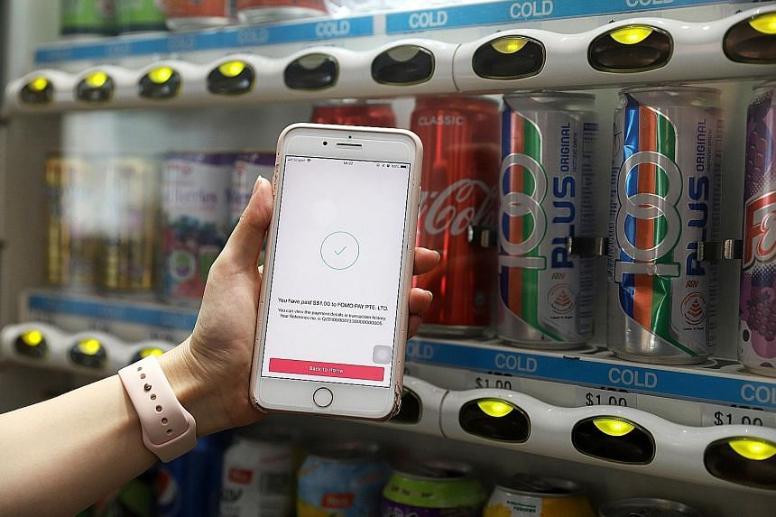 Singapore's first SGQR-enabled vending machine, a collaboration between payment solutions provider FOMO Pay and fintech firm D'Cube Concepts. The inclusion of fintech players in the banking sector can lead to novel ways of doing banking and a seamles