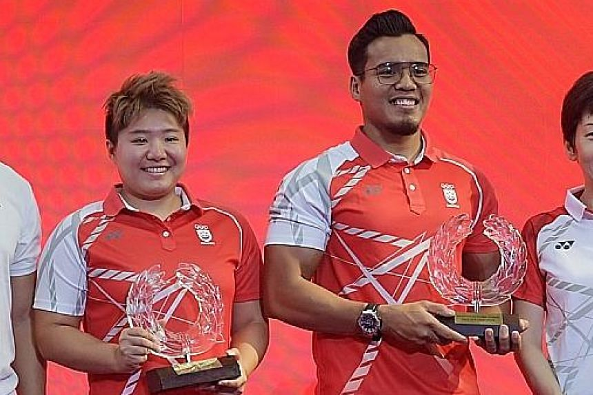 Two-time Asian Games swimming champion Tao Li and twice-world silat champion Muhammad Shakir Juanda at the Sport Hall Of Fame induction ceremony at Our Tampines Hub yesterday.