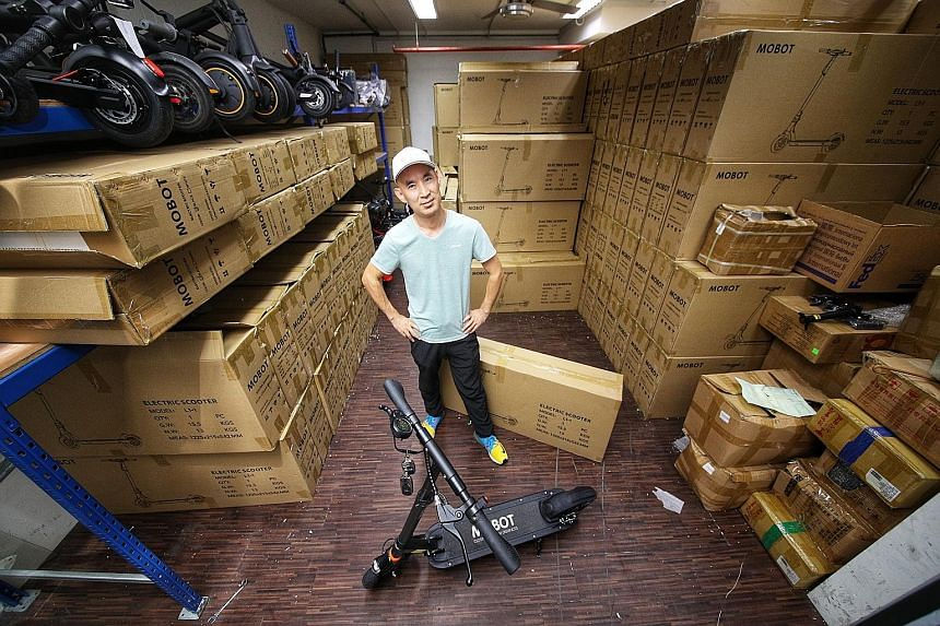 Mobot managing director Ifrey Lai says he has about 3,000 e-scooters, worth $1.5 million, languishing in his warehouse in Ubi. They have been paid for and cannot be returned to the manufacturer. After the footpath ban was announced, he adds, about 20