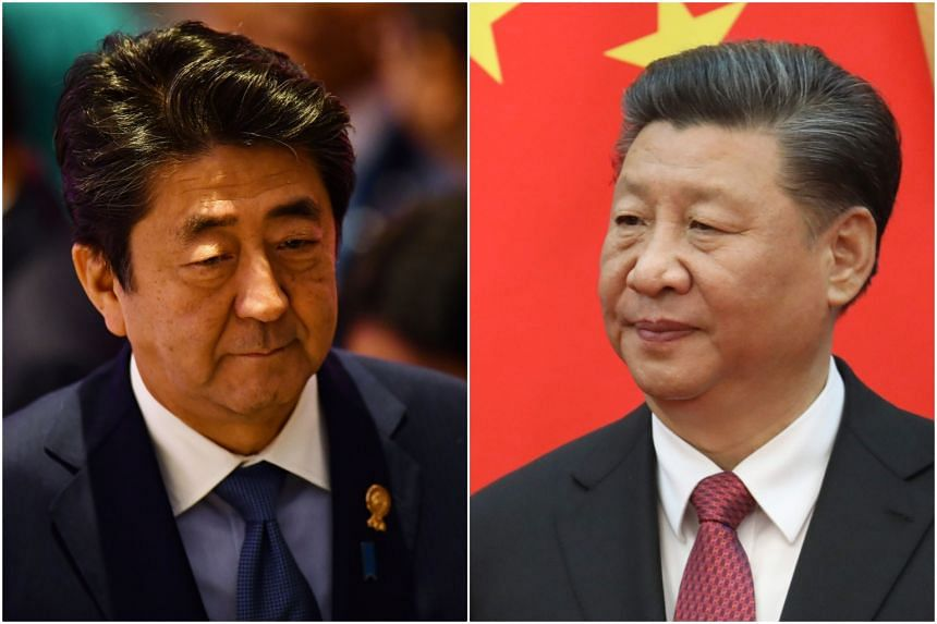 Japanese Prime Minister Shinzo Abe's (left) visit is aimed at confirming cooperation with Chinese President Xi Jinping.