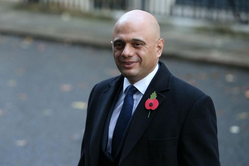 British Chancellor of the Exchequer Sajid Javid arrives to attend the memorial service of the Armistice Day on Nov 10, 2019.