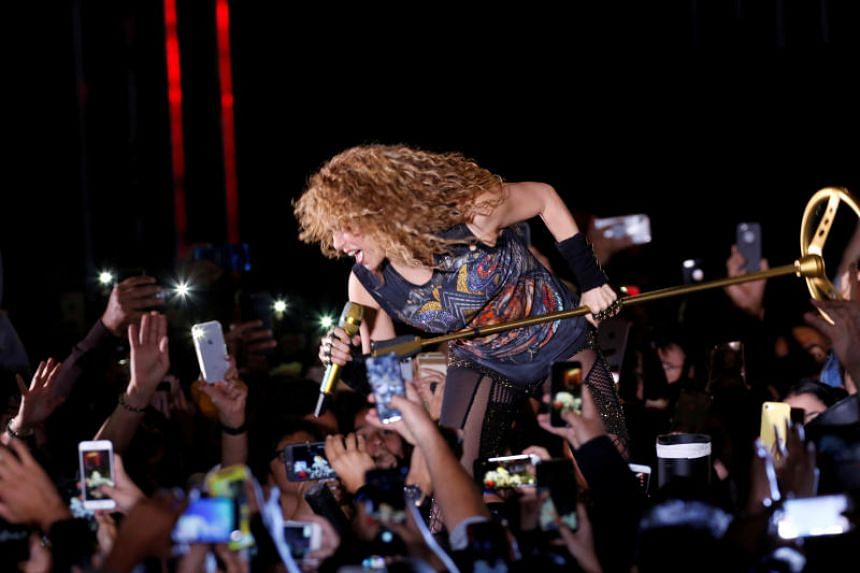 Colombian singer Shakira performs in the opening of the Cedars International Festival In Bcharre, Lebanon on July 13, 2018.