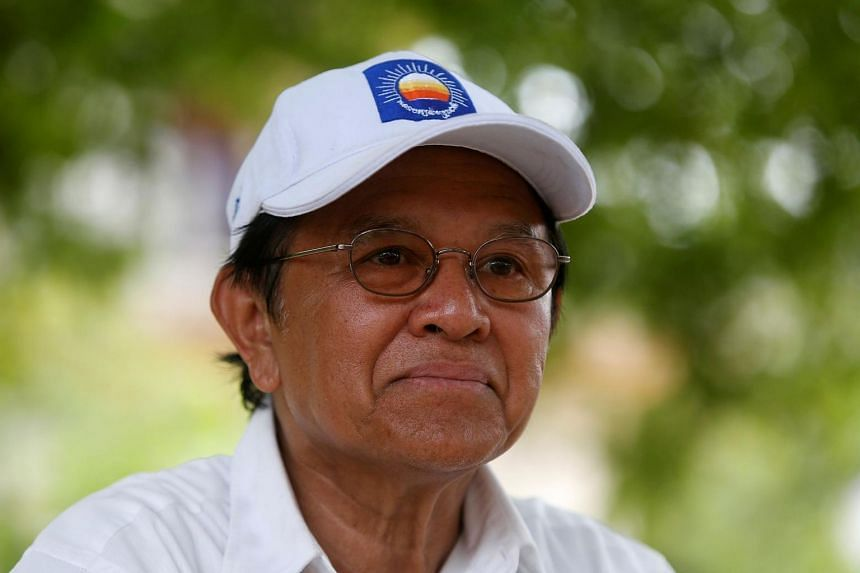 In a photo taken on May 28, 2017, opposition leader and President of the National Rescue Party (CNRP) Kem Sokha talks during an interview with Reuters in Prey Veng province, Cambodia.