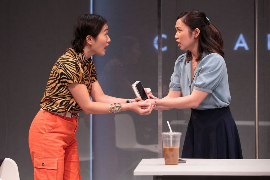 Actresses Jody Doo and Resa Mishina in the Washington production of White Pearl at the Studio Theatre.