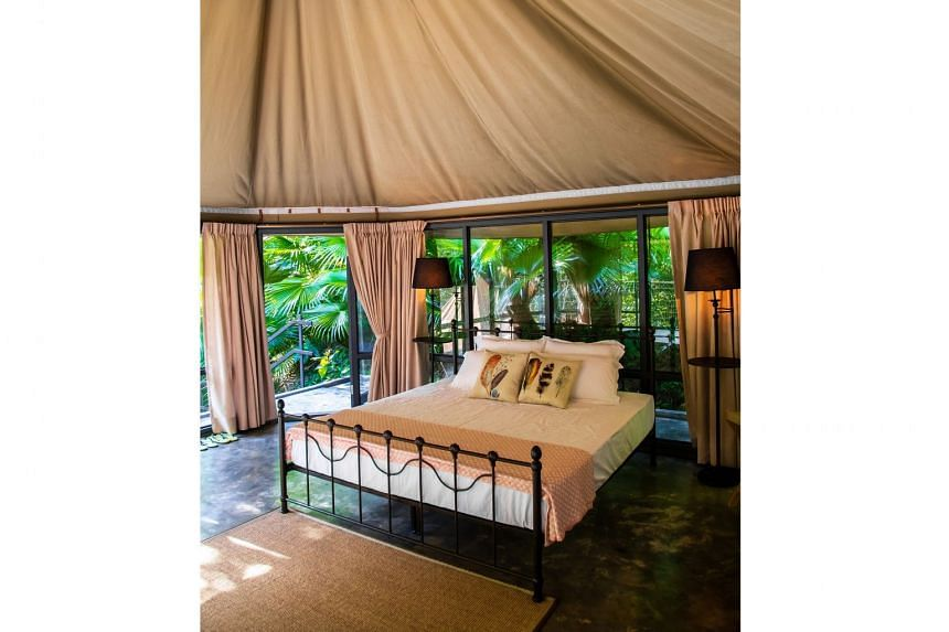 Spend the night in a safari tent or tented villa at the Boulder Valley glamping site (left, bouldervalleyglamping.com.my), about 45 minutes from George Town.